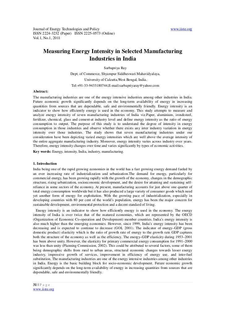 Measuring energy intensity in selected manufacturing industries in india