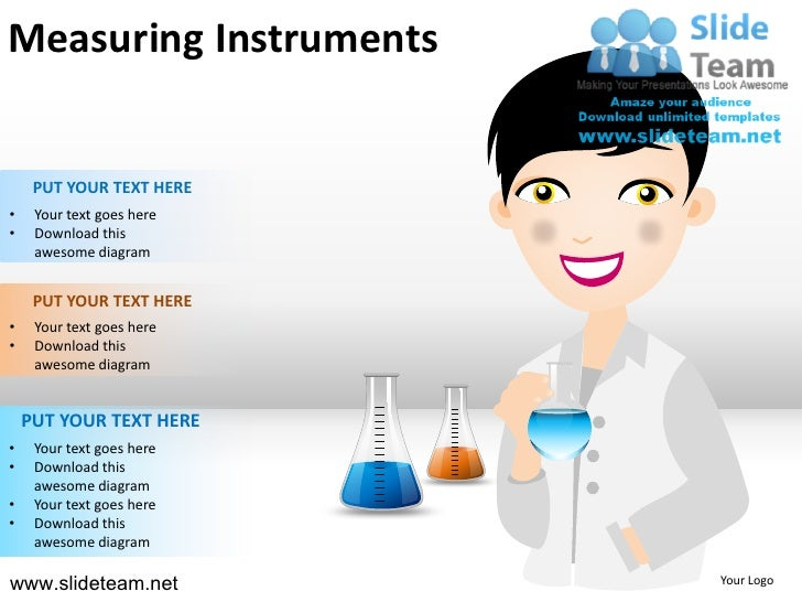 Measuring instruments beakers test tubes lab coat doctor powerpoint ppt templates.