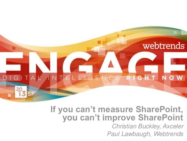 If you can't measure SharePoint,    you can't improve SharePoint              Christian Buckley, Axceler             Paul ...