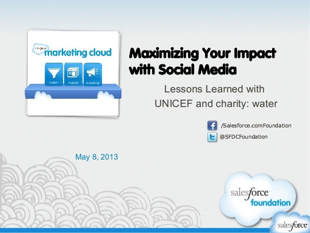 @SFDCFoundation/Salesforce.comFoundation@SFDCFoundation/Salesforce.comFoundationMaximizing Your Impactwith Social MediaLes...