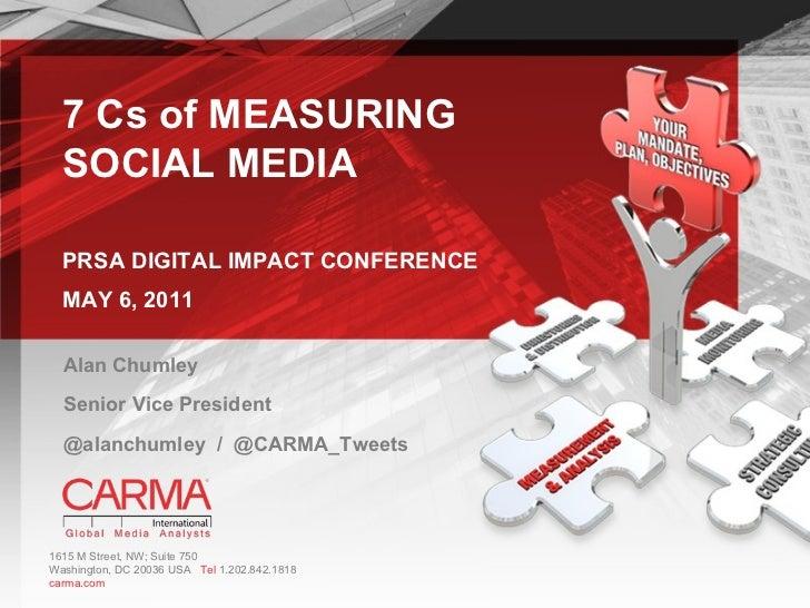 7 Cs of MEASURING  SOCIAL MEDIA PRSA DIGITAL IMPACT CONFERENCE MAY 6, 2011 1615 M Street, NW; Suite 750  Washington, DC 20...