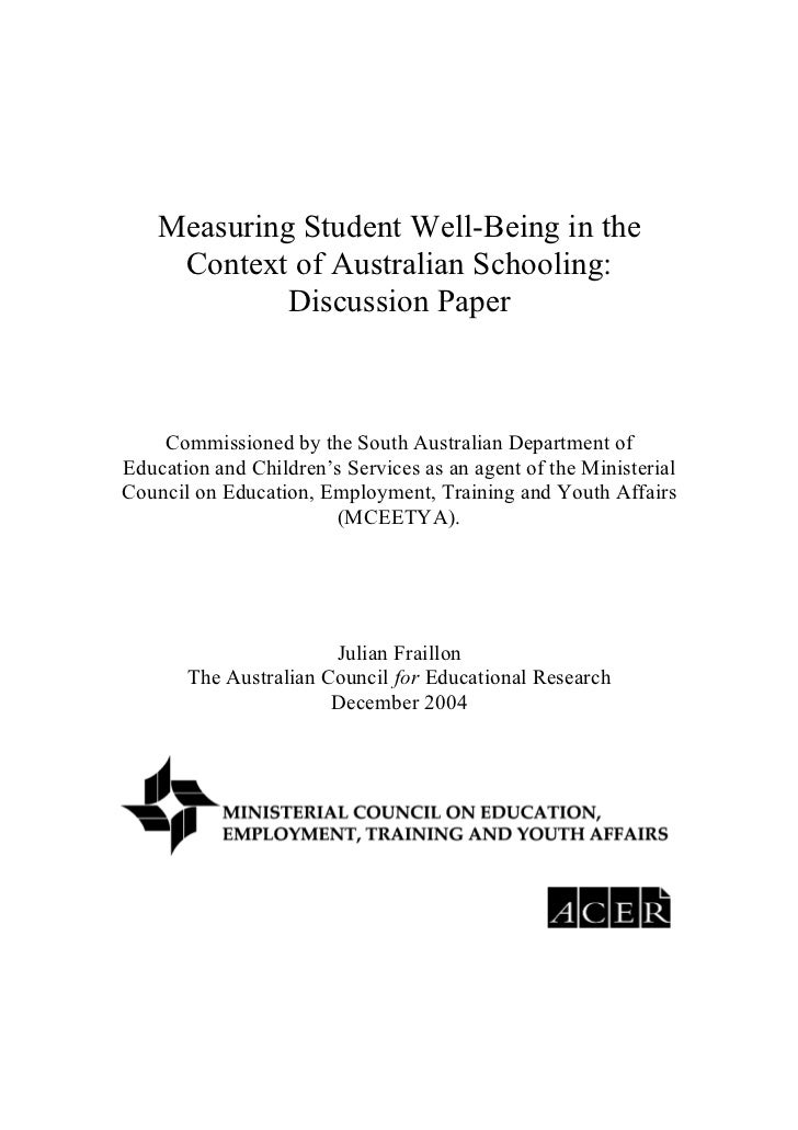 Measuring Student Well-Being in the     Context of Australian Schooling:             Discussion Paper    Commissioned by t...