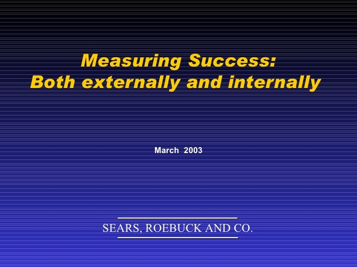 Measuring Success: Both externally and internally  March  2003 SEARS, ROEBUCK AND CO.