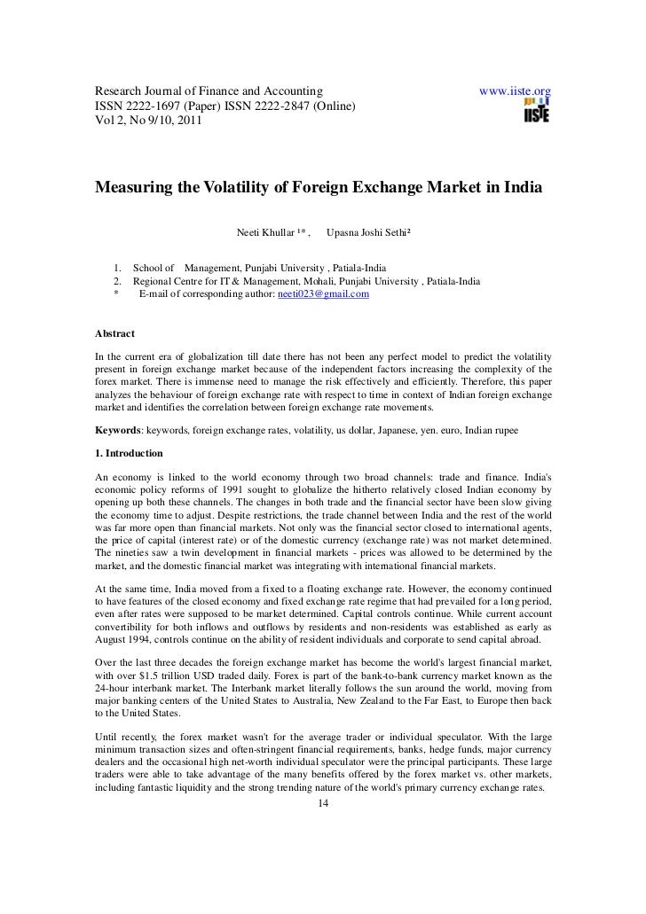 Measuring the volatility of foreign exchange market in india