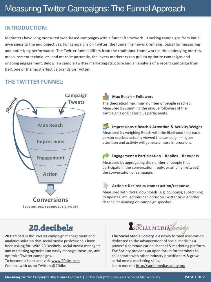 Measuring Twitter Campaigns: The Funnel Approach  INTRODUCTION: Marketers have long measured web-based campaigns with a fu...