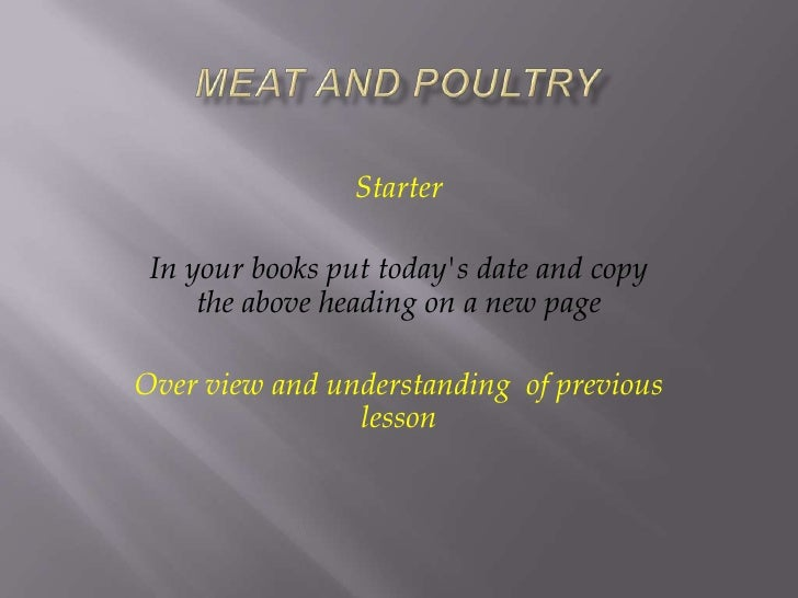 Meat and poultry.powerpoint y9