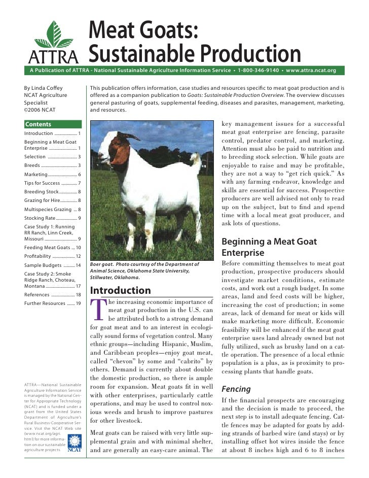 Meat Goats:  ATTRA                                     Sustainable Production    A Publication of ATTRA - National Sustain...