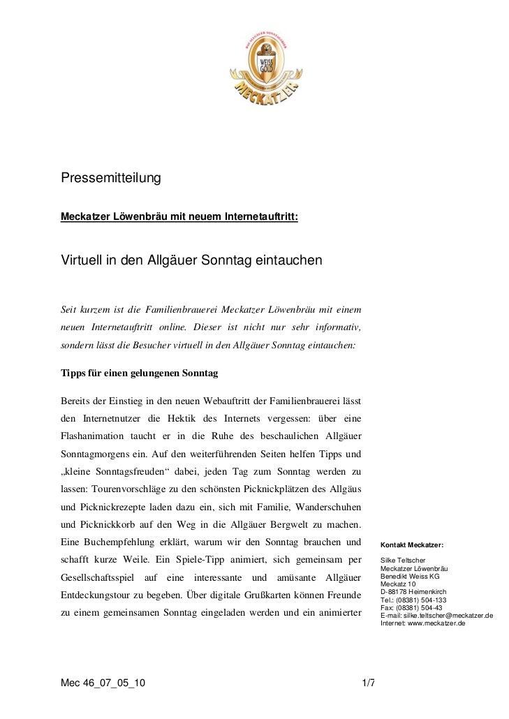 PressemitteilungMeckatzer Löwenbräu mit neuem Internetauftritt:UVirtuell in den Allgäuer Sonntag eintauchenSeit kurzem ist...