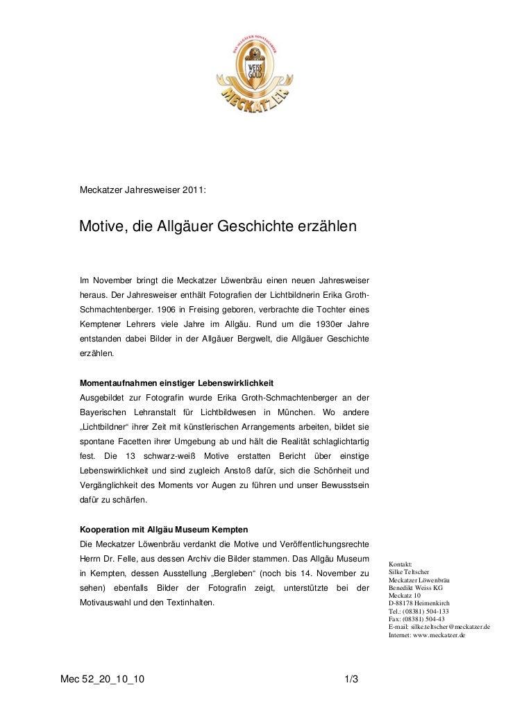 Meckatzer Jahresweiser 2011:   Motive, die Allgäuer Geschichte erzählen   Im November bringt die Meckatzer Löwenbräu einen...