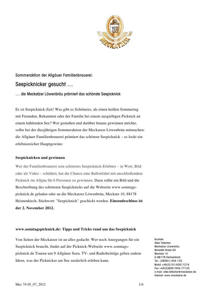 Sommeraktion der Allgäuer Familienbrauerei:Seepicknicker gesucht …… die Meckatzer Löwenbräu prämiert das schönste Seepickn...
