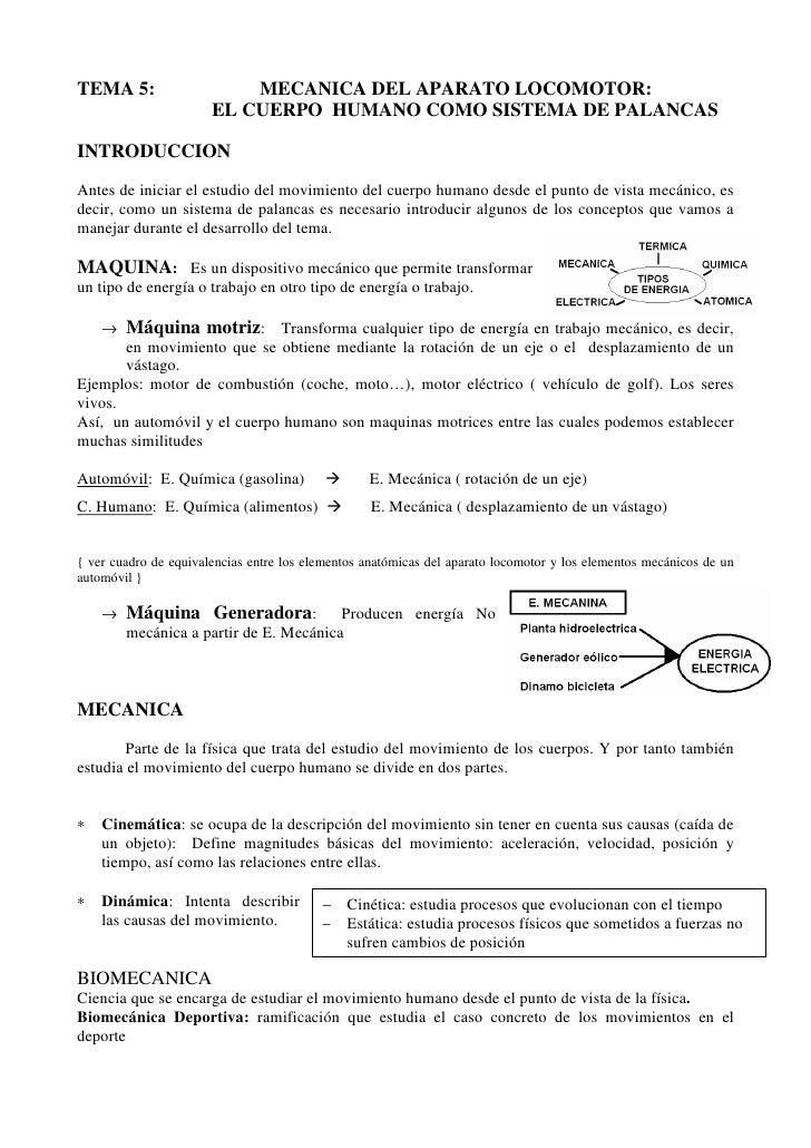 TEMA 5:                    MECANICA DEL APARATO LOCOMOTOR:                       EL CUERPO HUMANO COMO SISTEMA DE PALANCAS...