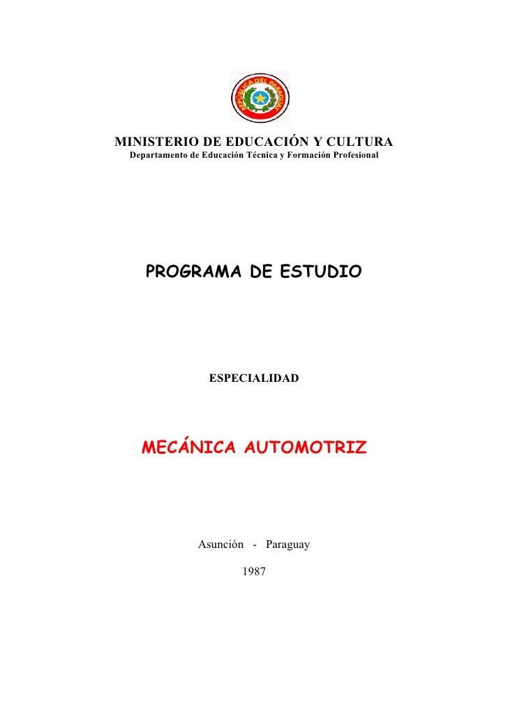 MINISTERIO DE EDUCACIÓN Y CULTURA  Departamento de Educación Técnica y Formación Profesional         PROGRAMA DE ESTUDIO  ...