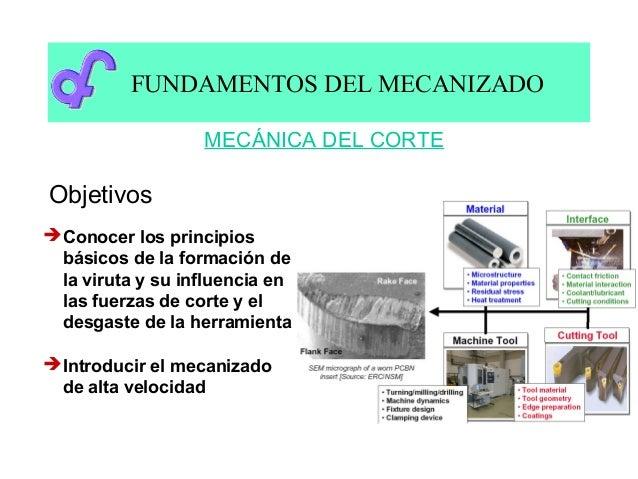 FUNDAMENTOS DEL MECANIZADO                   MECÁNICA DEL CORTEObjetivos Conocer los principios  básicos de la formación ...