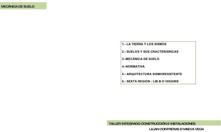 MECÁNICA DE SUELO LILIAN CONTRERAS – MAEVA VEGA 1.- LA TIERRA Y LOS SISMOS 2.- SUELOS Y SUS CRACTERISRICAS 3.-MECÁNICA DE ...