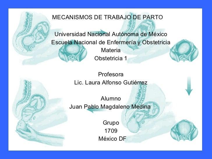 MECANISMOS DE TRABAJO DE PARTO Universidad Nacional Autónoma de México Escuela Nacional de Enfermería y Obstetricia Materi...