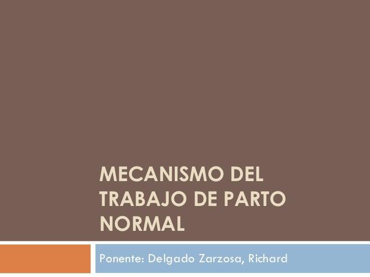 MECANISMO DEL TRABAJO DE PARTO NORMAL Ponente: Delgado Zarzosa, Richard