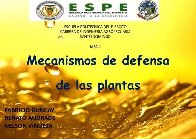 Mecanismos de defensa de las plantas FABRICIO GUNCAY RENATO ANDRADE NELSON VINUEZA ESCUELA POLITECNICA DEL EJERCITO CARRER...