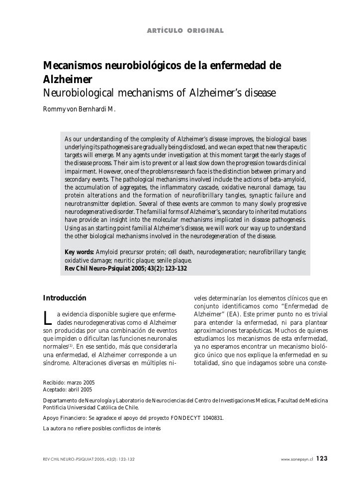 ARTÍCULO ORIGINALMecanismos neurobiológicos de la enfermedad deAlzheimerNeurobiological mechanisms of Alzheimer's diseaseR...