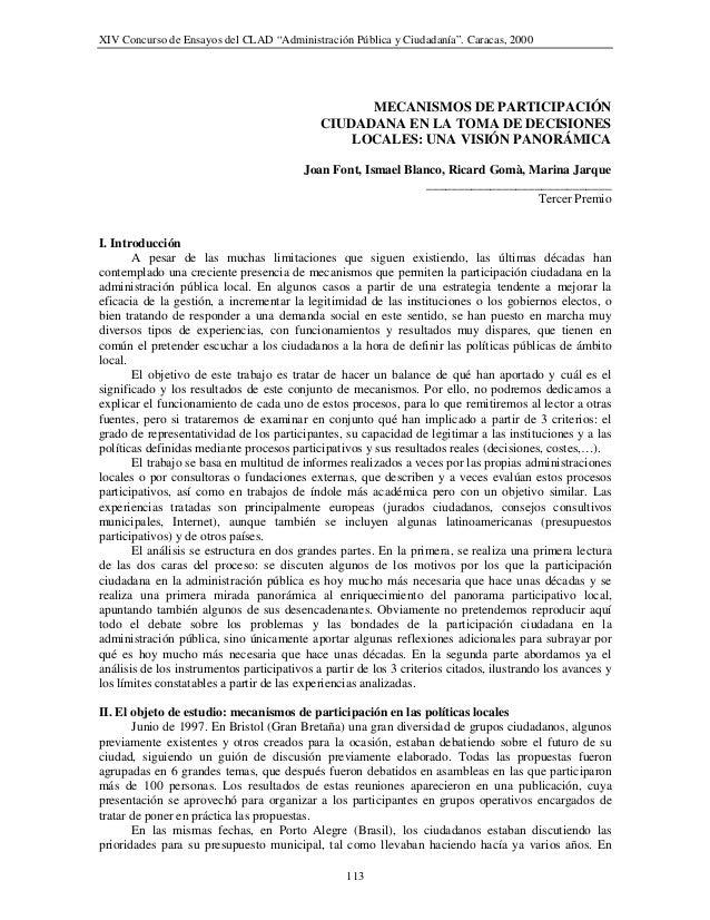 """XIV Concurso de Ensayos del CLAD """"Administración Pública y Ciudadanía"""". Caracas, 2000                                     ..."""