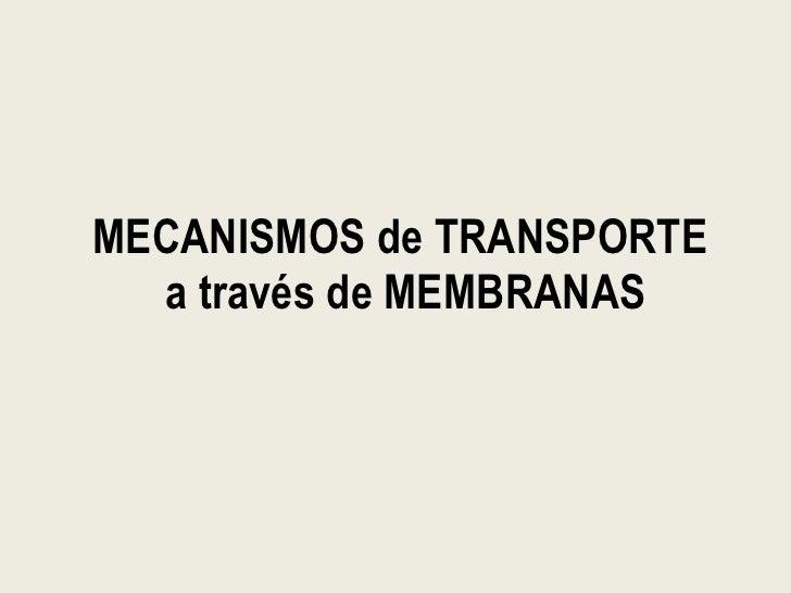 Mecanismos De Transporte A Través De Membranas