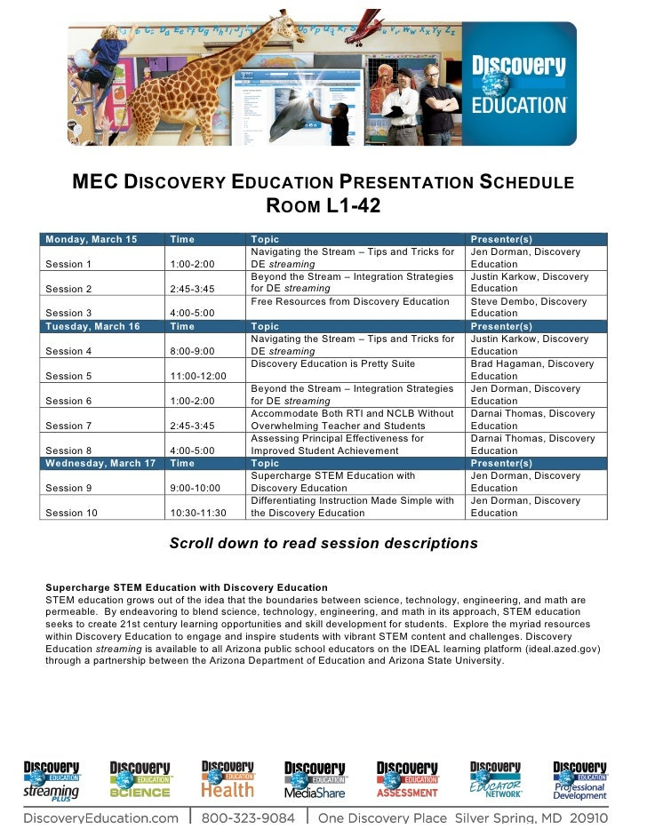 MEC Discovery Room Schedule