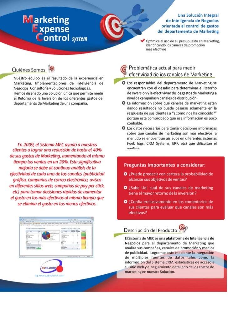 MEC (Marketing Expensive Control) Herramienta de control y optimización de campañas de marketing