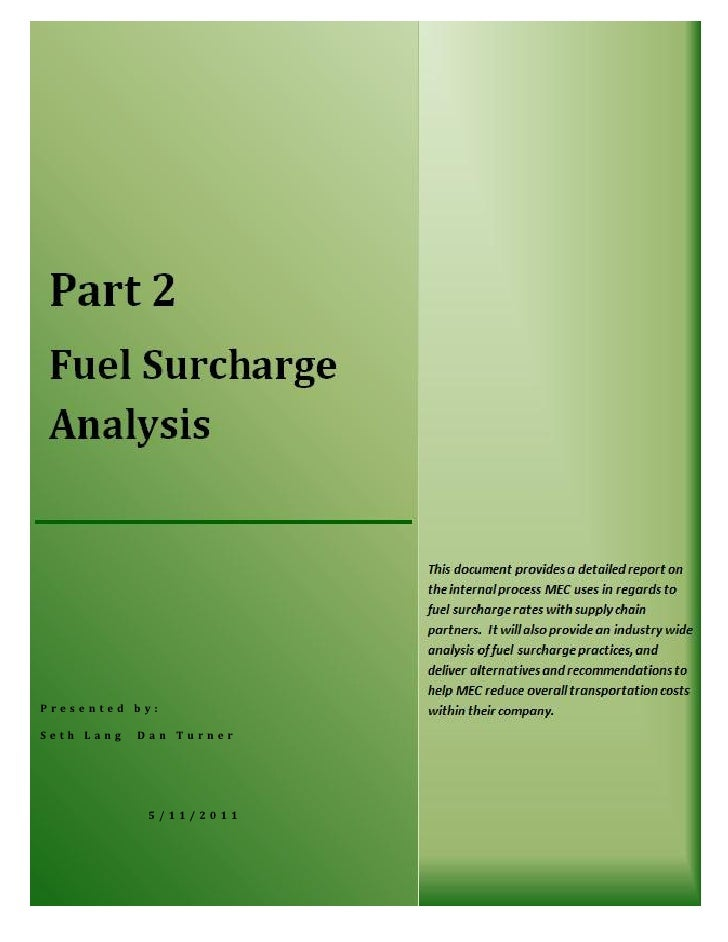 Fuel Surcharge Performance Report