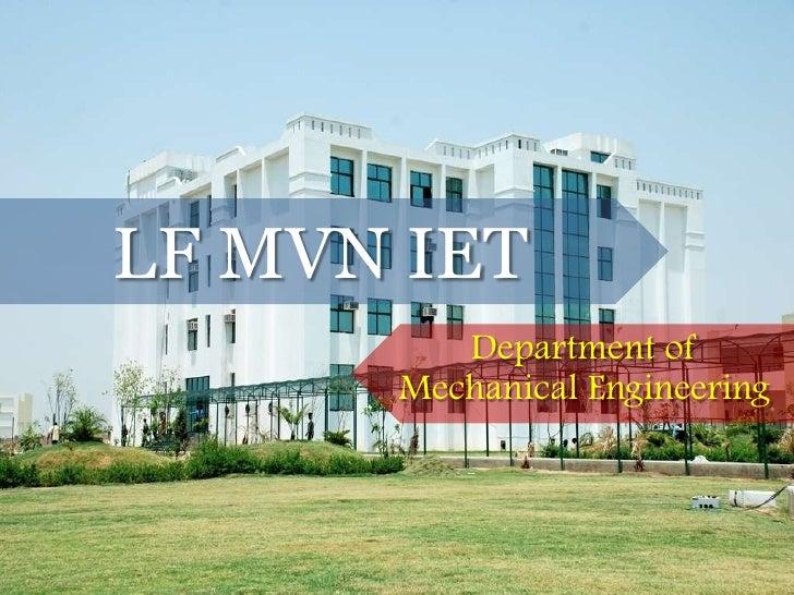 LFMVN IET Department of Mechanical Engineering