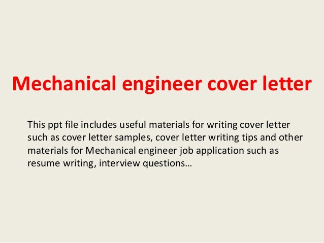 mechanical engineer cover letter