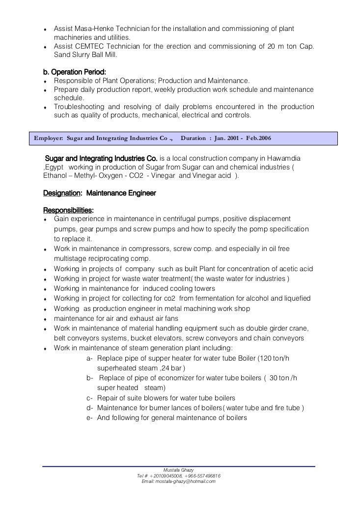 Mechanical Technician Resume Sample
