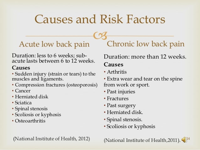 Chronic Pain Mechanism Low Back Pain chronic