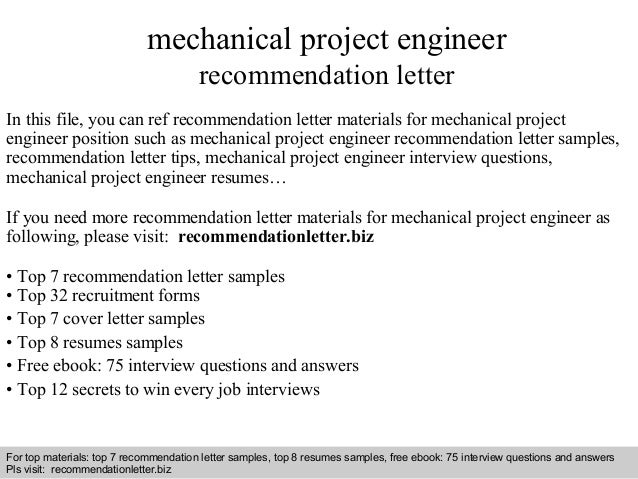 mechanical project engineer cover letter