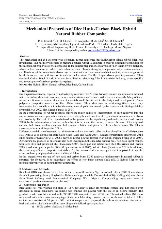 Chemistry and Materials Research www.iiste.org ISSN 2224- 3224 (Print) ISSN 2225- 0956 (Online) Vol.3 No.8, 2013 12 Mechan...
