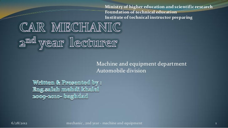 Ministry of higher education and scientific research                                 Foundation of technical education    ...
