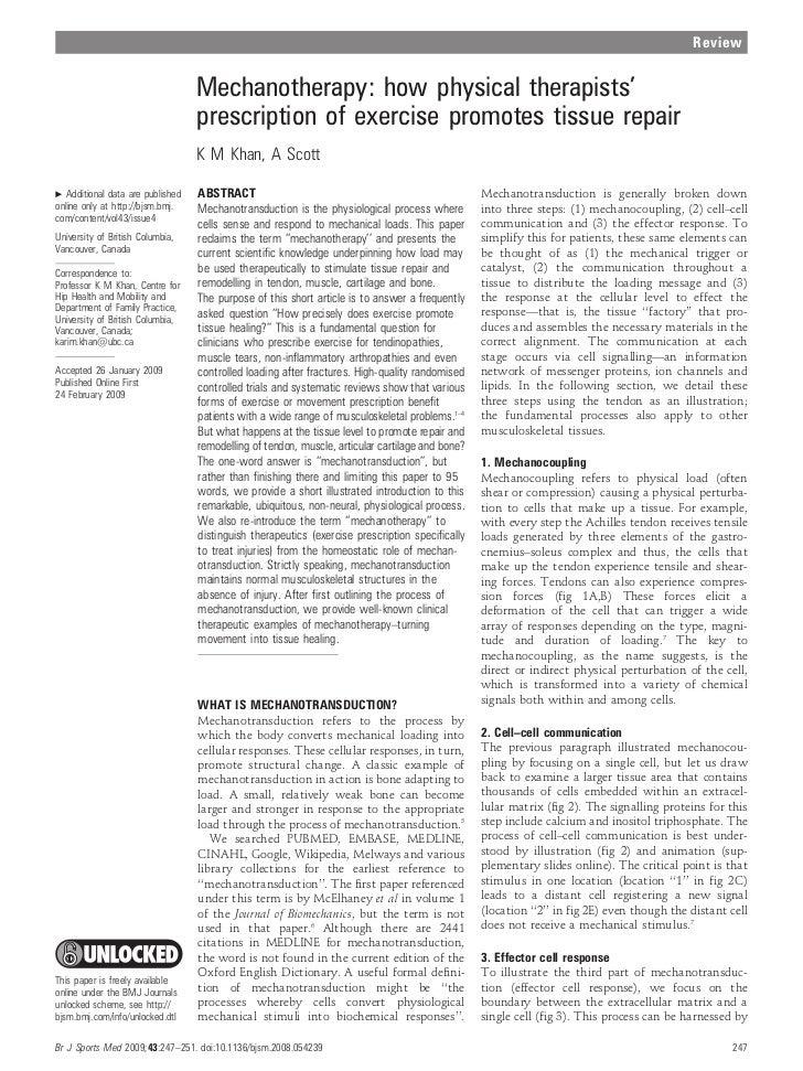 Mechanotherapy  tissue repair