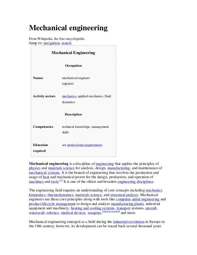 Mechanical engineeringFrom Wikipedia, the free encyclopediaJump to: navigation, search               Mechanical Engineerin...
