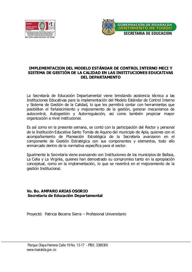 Parque Olaya Herrera Calle 19 No. 13-17 - PBX: 3398300 www.risaralda.gov.co IMPLEMENTACION DEL MODELO ESTÁNDAR DE CONTROL ...