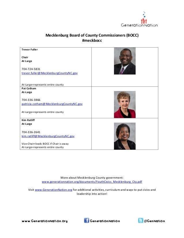 MecklenburgBoardofCountyCommissioners(BOCC) #meckbocc  TrevorFuller Chair AtLarge  704‐724‐5831 trevor.ful...