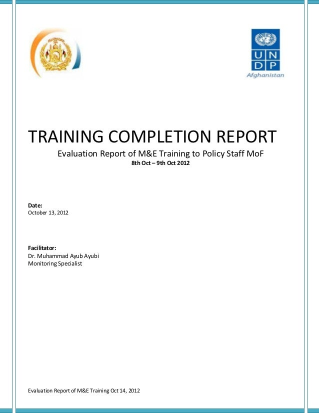 M&E completion training report oct 142012