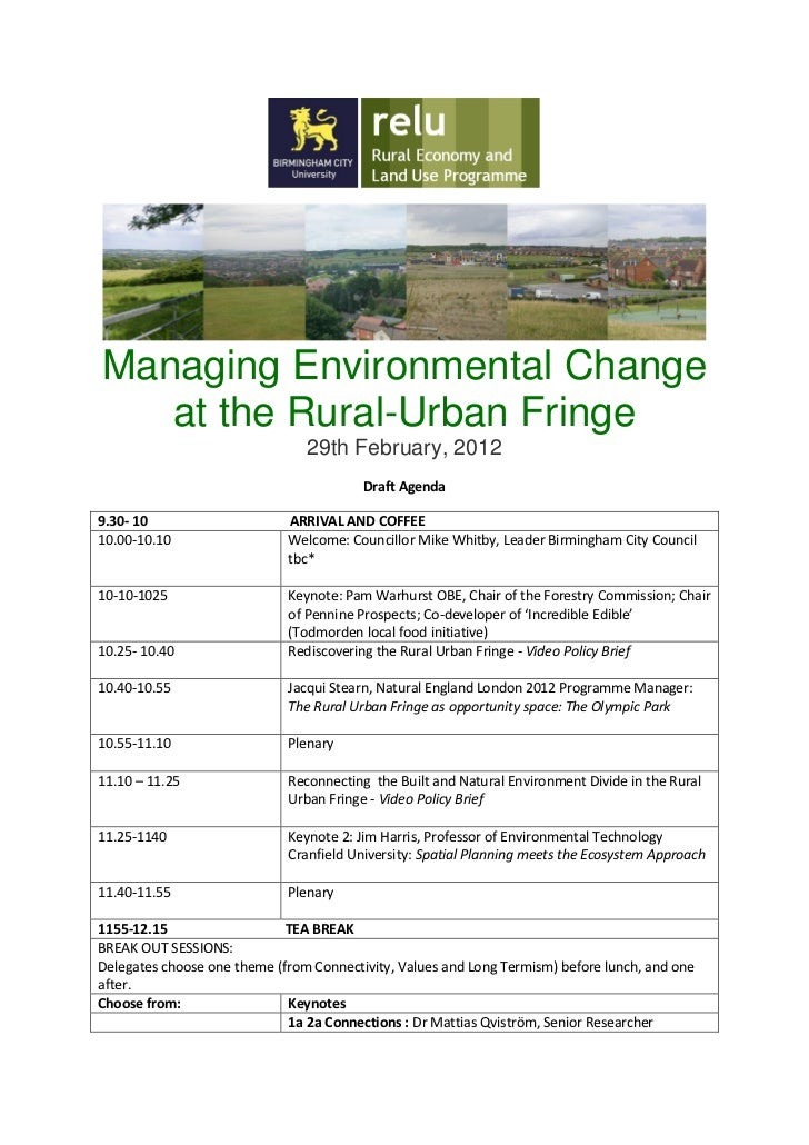 Managing Environmental Change   at the Rural-Urban Fringe                                29th February, 2012              ...
