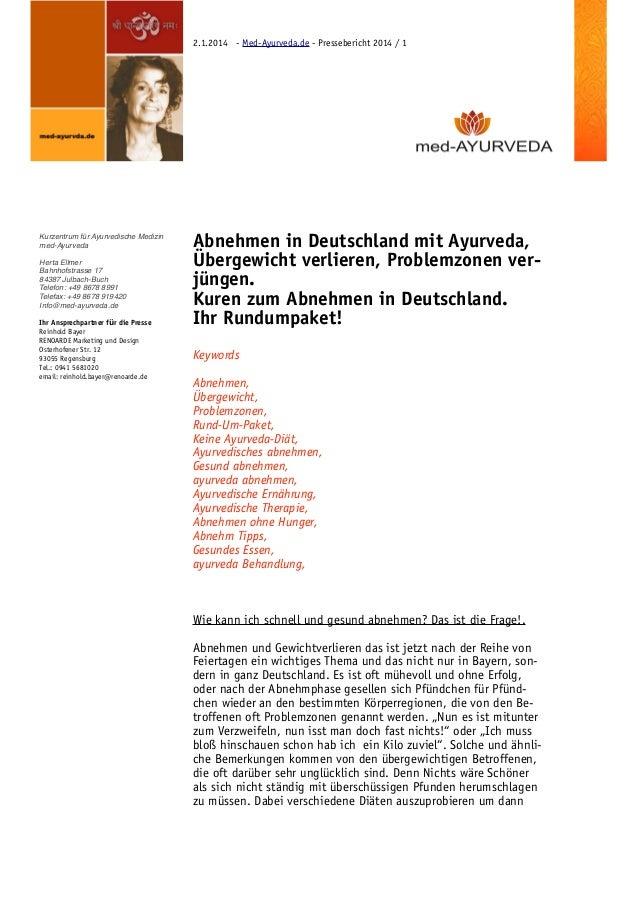 2.1.2014 - Med-Ayurveda.de - Pressebericht 2014 / 1  Kurzentrum für Ayurvedische Medizin! med-Ayurveda!  !  Herta Ellmer! ...