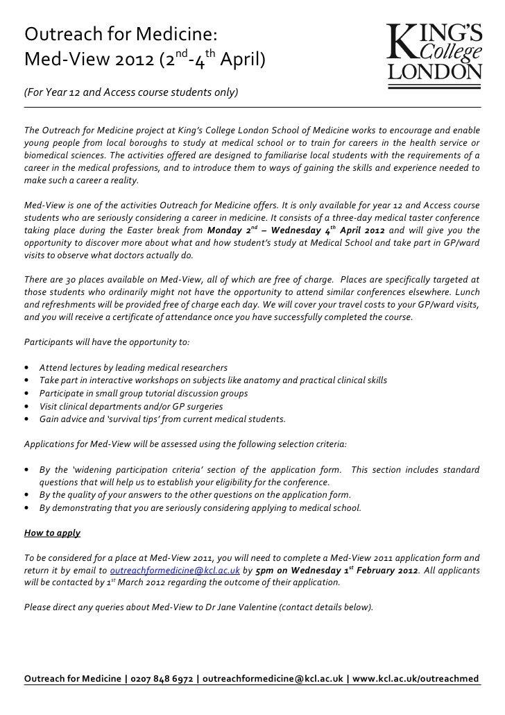 Outreach for Medicine Information Sheet
