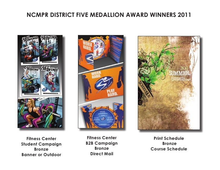 NCMPR DISTRICT FIVE MEDALLION AWARD WINNERS 2011   Fitness Center   Fitness Center     Print ScheduleStudent Campaign    B...