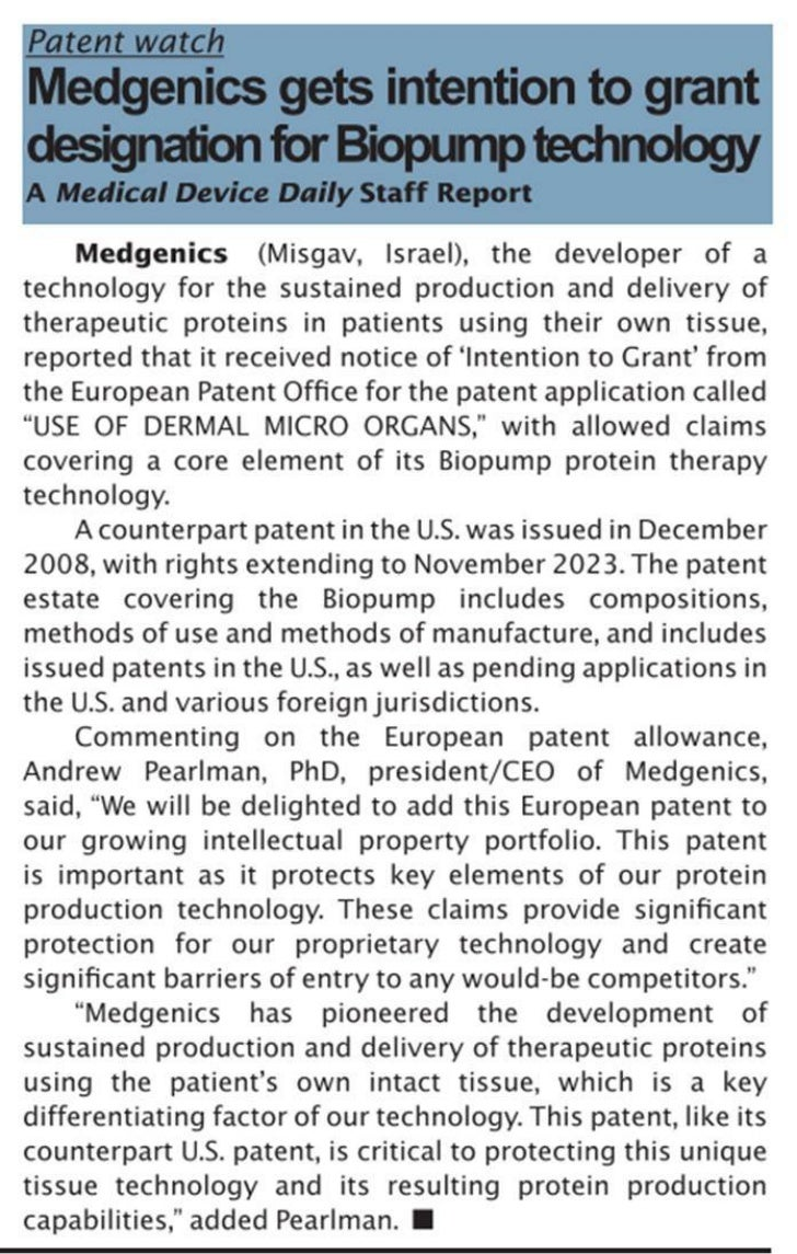 Medgenics in Medical Device Daily