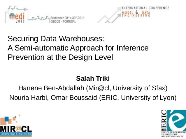 Securing Data Warehouses: A Semi-automatic Approach for Inference Prevention at the Design Level Salah Triki Hanene Ben-Ab...