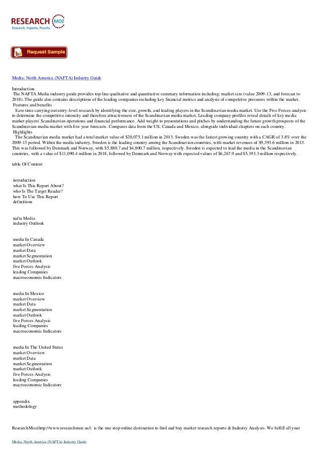 Media: North America (NAFTA) Industry Guide Introduction The NAFTA Media industry guide provides top-line qualitative and ...