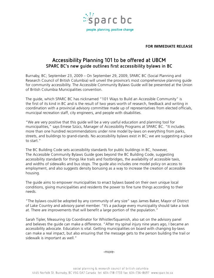 FOR IMMEDIATE RELEASE                   Accessibility Planning 101 to be offered at UBCM             SPARC BC's new guide ...