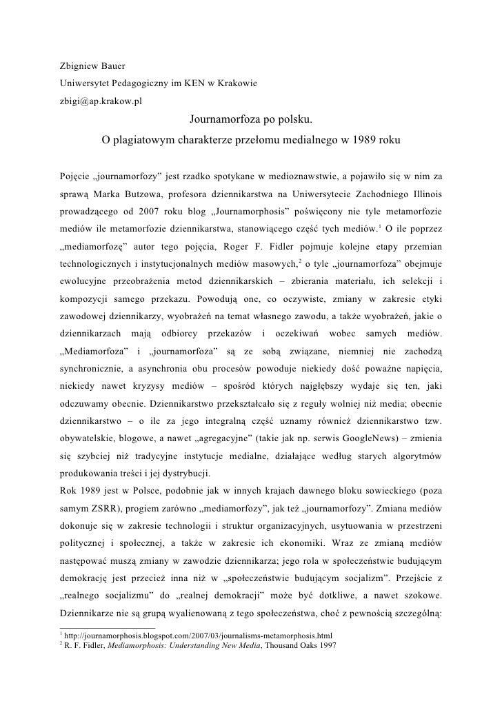 Zbigniew Bauer Uniwersytet Pedagogiczny im KEN w Krakowie zbigi@ap.krakow.pl                                       Journam...