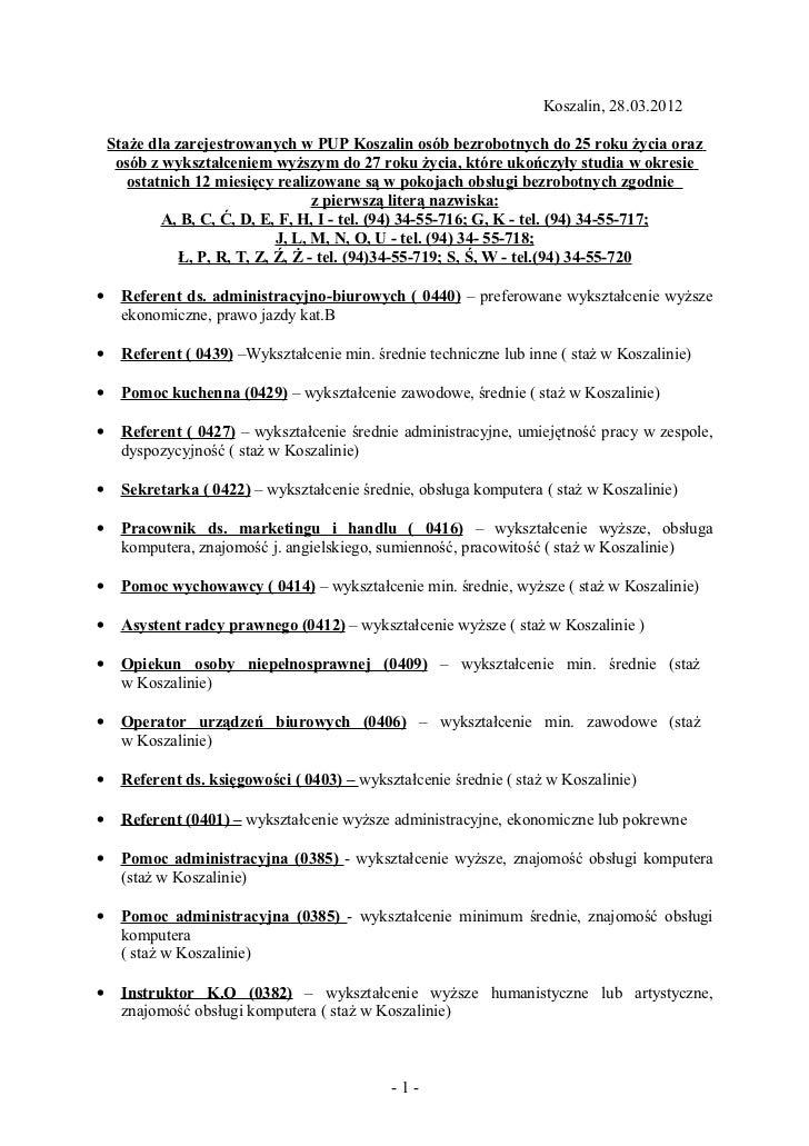 Koszalin, 28.03.2012    Staże dla zarejestrowanych w PUP Koszalin osób bezrobotnych do 25 roku życia oraz     osób z wyksz...
