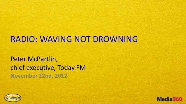 RADIO: WAVING NOT DROWNINGPeter McPartlin,chief executive, Today FMNovember 22nd, 2012